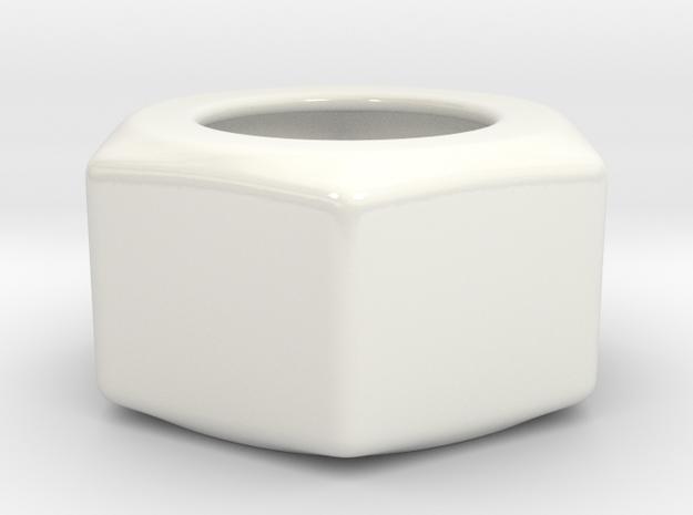 Hex Nut Sugar Bowl in Gloss White Porcelain