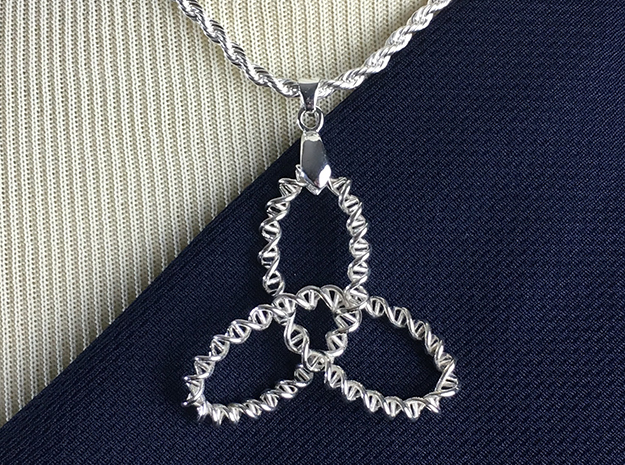 DNA Trinity Knot Pendant in Polished Silver