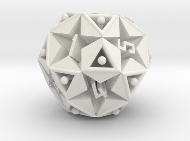 DICE Icosidodecahedron STAR in White Natural Versatile Plastic