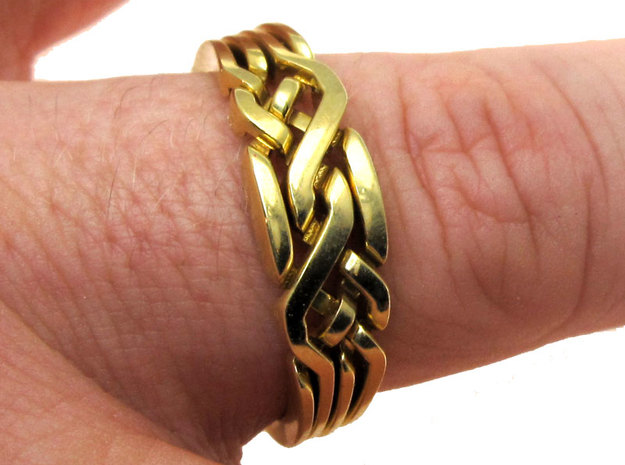 Holistic Ring interlocking metal in Interlocking Polished Brass