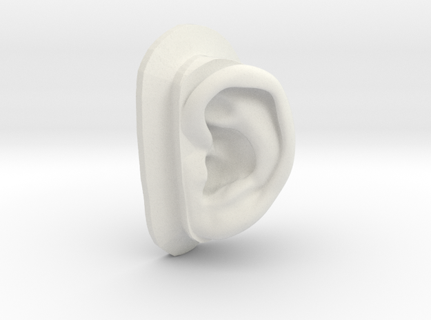 DIY Binaural Ear + Canal Anatomically Accurate - L in White Strong & Flexible