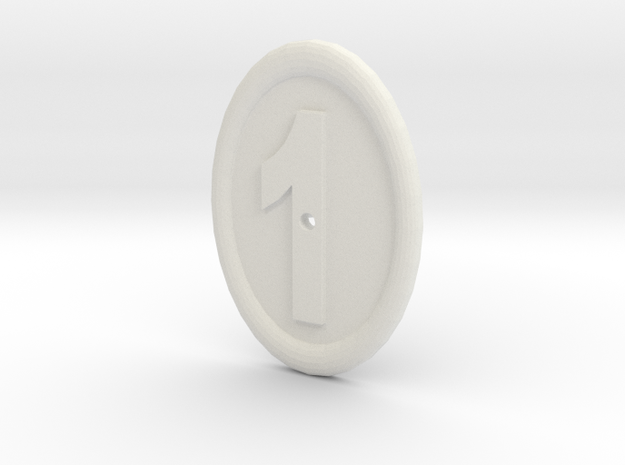 Oval Imitation Whistle-hole Number 1 Button in White Strong & Flexible
