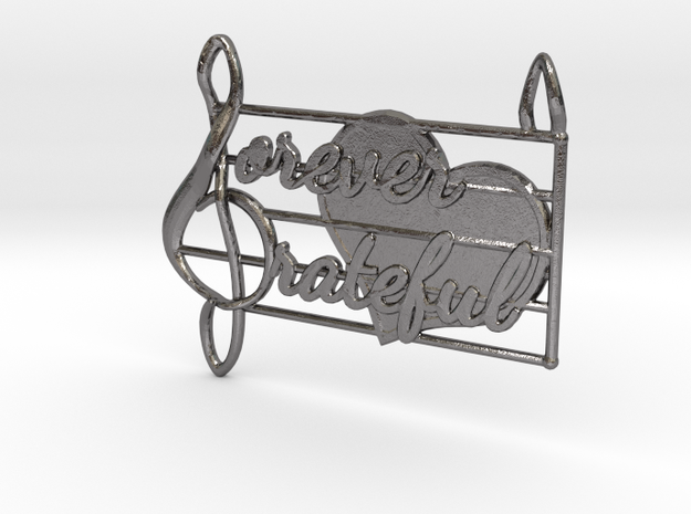 Forever Grateful Pendant in Polished Nickel Steel