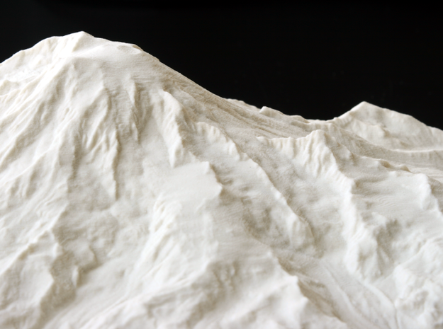 8'' Mt. Rainier, Washington, USA, Sandstone 3d printed Close-up photograph of Sandstone print showing Little Tahoma Peak and a number of glaciers.