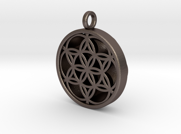 SEED OF LIFE PENDANT in Polished Bronzed Silver Steel