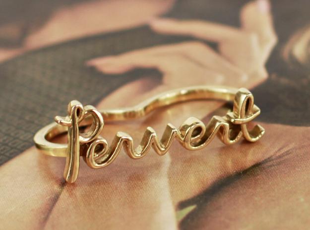 Pervert Script Ring (2-Finger) in Polished Brass: 6 / 51.5