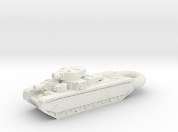 T-35 Heavy 5-Turret Tank KEYCHAIN in White Natural Versatile Plastic