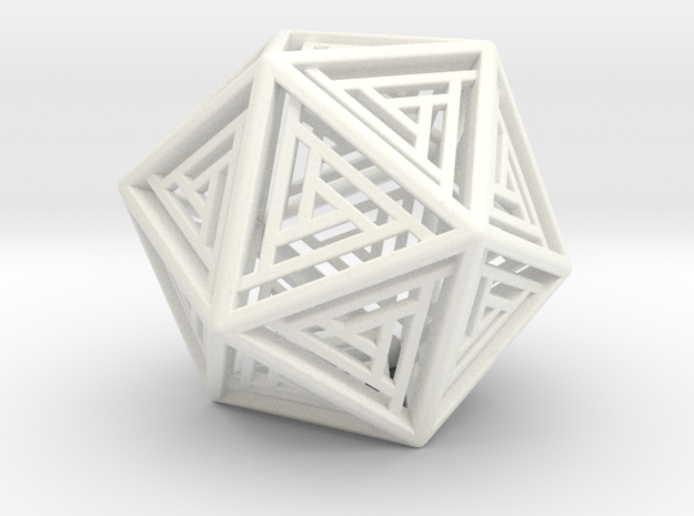 Icosahedron Lattice in White Strong & Flexible Polished