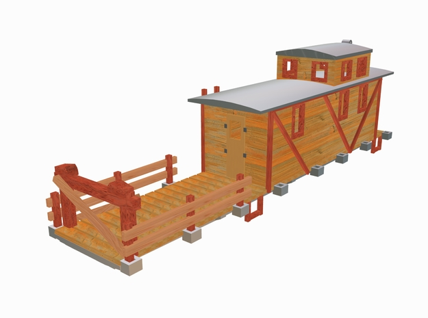 MOW 50ft Flat Car w/Caboose in Smooth Fine Detail Plastic