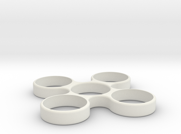 Quad Fidget Spinner in White Natural Versatile Plastic