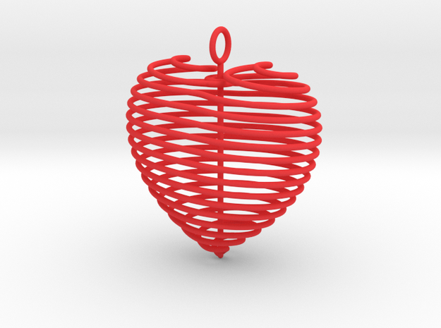 Coiled Heart with Bail in Red Processed Versatile Plastic: Small
