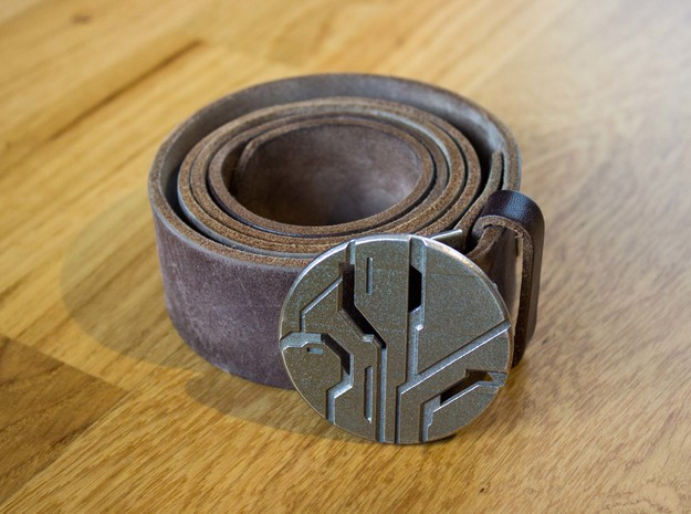 Reclaimer-Belt Buckle in Polished Bronzed Silver Steel