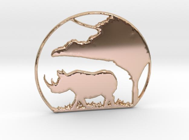 Rhino Pendant in 14k Rose Gold Plated Brass