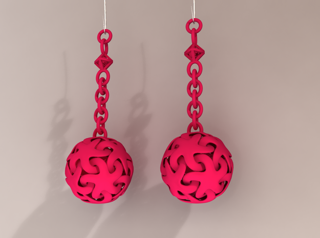Starfish Ball Earrings 3d printed