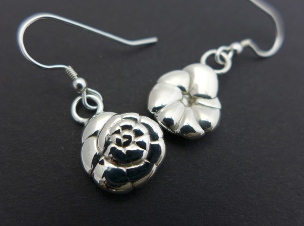 Ammonia tepida Earrings - Science Jewelry in Polished Silver