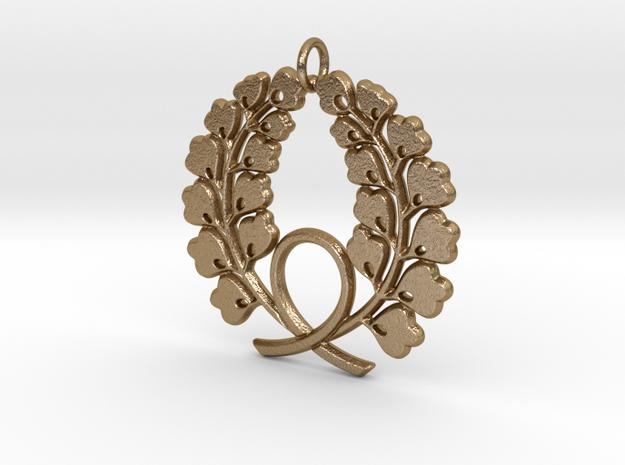 Matsuya Wreath Pendant in Polished Gold Steel