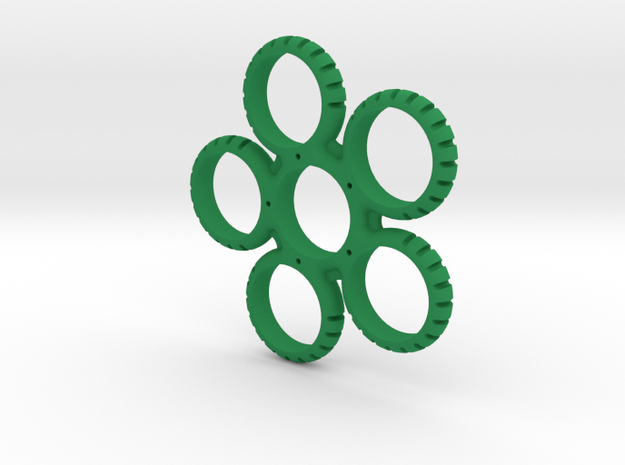 Five Sided Fidget Spinner in Green Processed Versatile Plastic