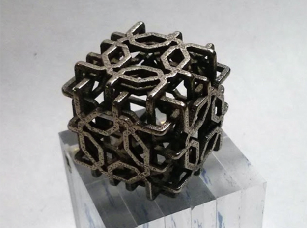 Two-layer Islamic geometric charm in Polished Bronzed Silver Steel