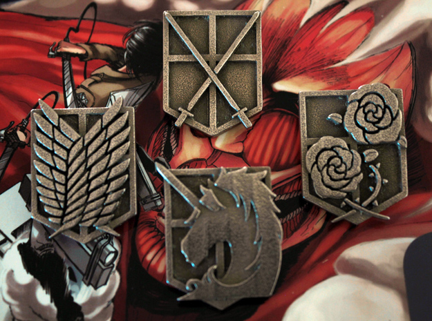 Attack On Titan Emblems - Set Of 4 in Polished Bronzed Silver Steel