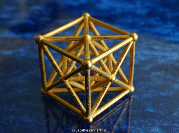 Metatron's Cube - Merkaba Cube in Polished Gold Steel