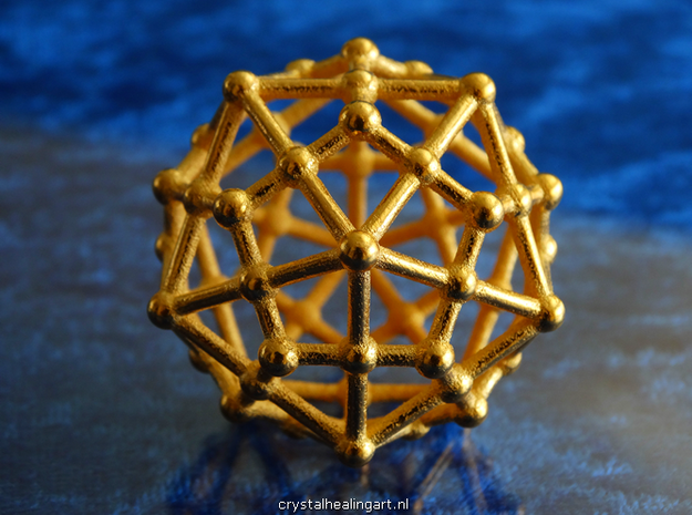 Dodecahedron - Icosahedron in Polished Gold Steel