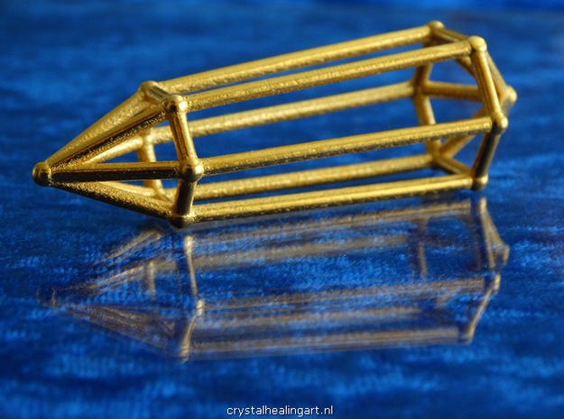 Phi Vogel Crystal - 6 sided in Polished Gold Steel