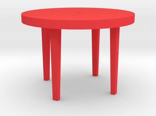 Patio Table With Tapered Legs. in Red Processed Versatile Plastic