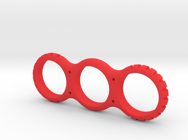 Notched Fidget Spinner in Red Processed Versatile Plastic
