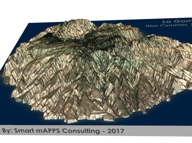 La Gomera Map, Canary Islands - Large in Matte Full Color Sandstone