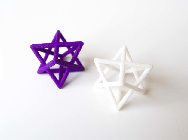 Merkaba pendant - small in Purple Processed Versatile Plastic