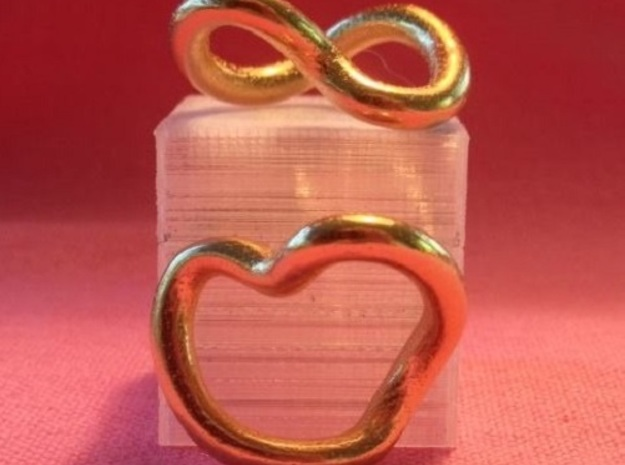 Infinity Heart 3d printed Infinite love in gold plate