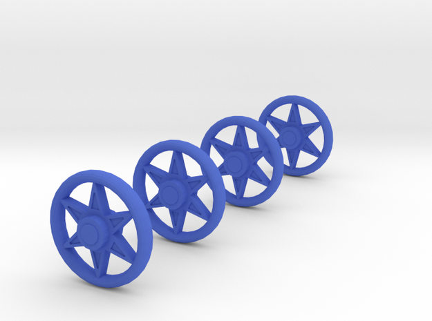 4 Spoked Wheels for a Baby Carriage in Blue Processed Versatile Plastic