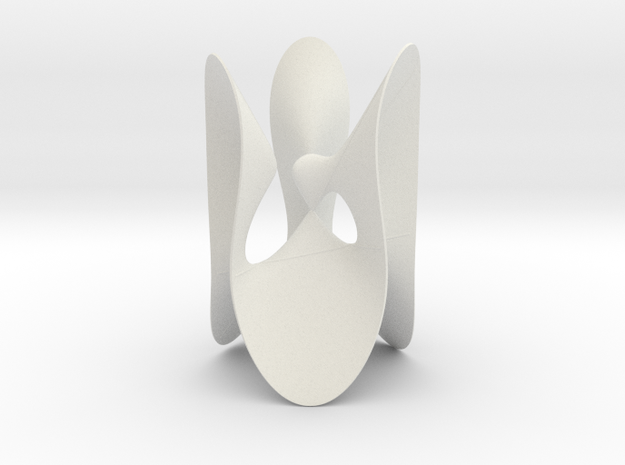 Cubic KM 8 cylinder cut with lines in White Natural Versatile Plastic