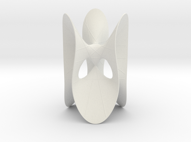 Cubic KM 6 cylinder cut with lines in White Natural Versatile Plastic