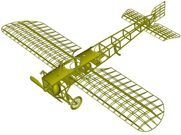 1/18 scale Bleriot XI-2 WWI model kit #3 of 3 in Smooth Fine Detail Plastic