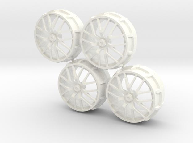 Set Rims for Ferrari 458 Challenge 1/18 in White Processed Versatile Plastic