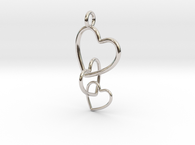 Interlocking Chain Of Hearts in Fine Detail Polished Silver
