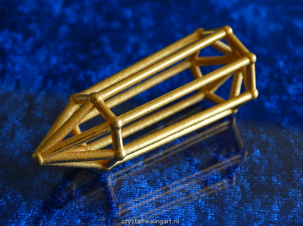 Phi Vogel Crystal - 7 sided in Polished Gold Steel