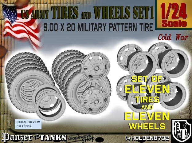 1-24 900x20 M35 Tires And Wheels Set1 in Smooth Fine Detail Plastic