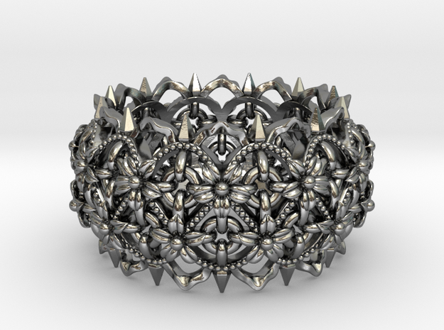 Thorns and  Flowers Silver Ring