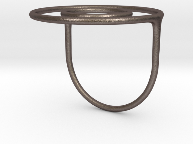 Concentric Circles Ring in Polished Bronzed Silver Steel: 7 / 54