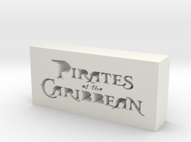 Pirates of the Caribbean Logo in White Natural Versatile Plastic