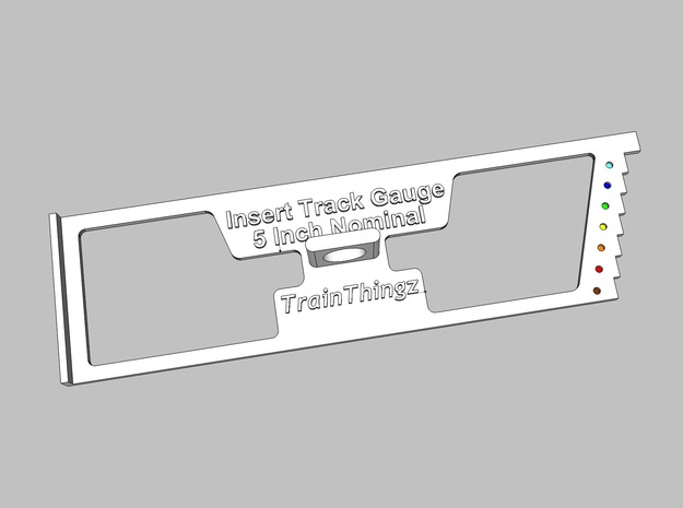 5 In Flat Insert Track Gauge 3d printed Render showing color codes for each length track.