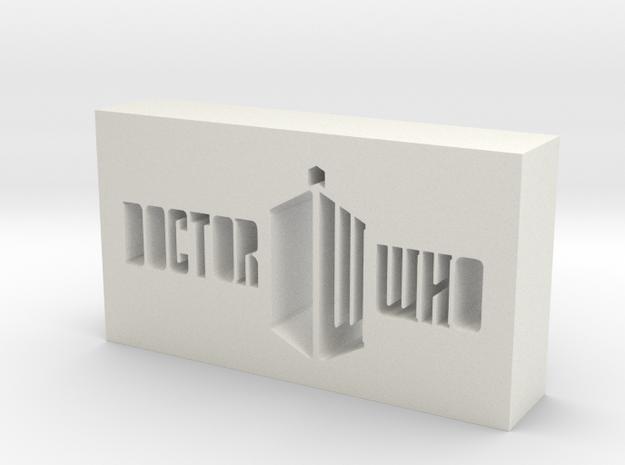 Doctor Who Logo in White Natural Versatile Plastic