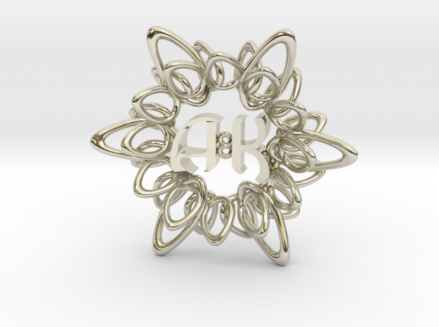 Initials Flower Pendant - 5cm 3d printed