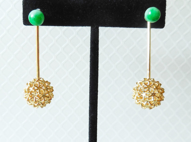 Virus Ball -- Earring Jackets or Earrings in Metal in 18k Gold Plated Brass