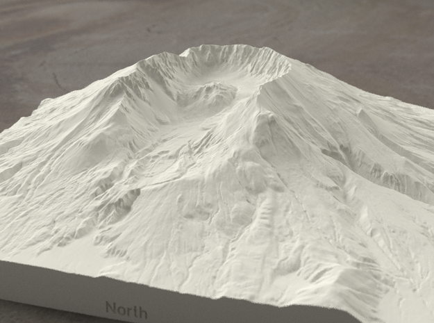 8'' Mt. St. Helens, Washington, USA, Sandstone 3d printed Radiance rendering of model from north