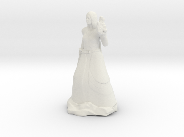 Female Half Elf Bard with Rapier and Uilleann pipe in White Natural Versatile Plastic