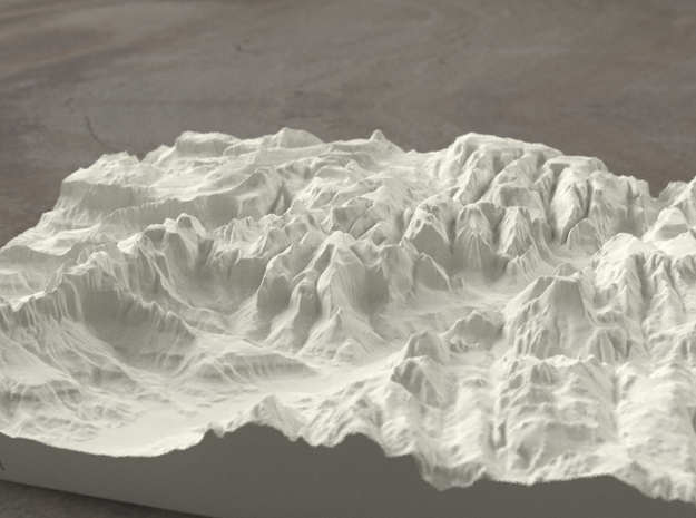 8'' Zion Canyon, Utah, USA, Sandstone 3d printed Radiance rendering of Zion Canyon model from the south