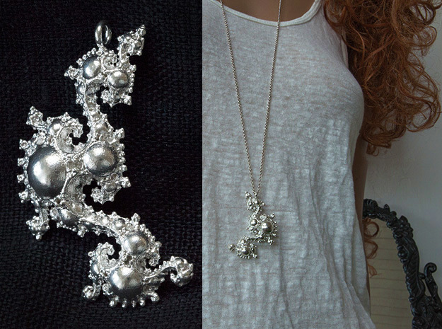 Kleinian Pearls Fractal Pendant in Natural Silver